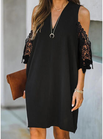 Lace/Solid 3/4 Sleeves/Cold Shoulder Sleeve Shift Knee Length Little Black/Casual Tunic Dresses
