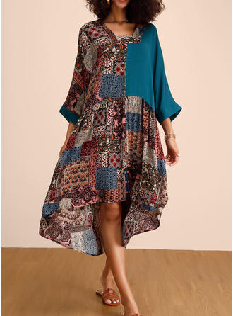 Print/Patchwork 3/4 Sleeves Shift Casual/Boho/Vacation Midi Dresses