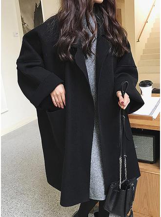 Bawełna Długie rękawy Jednolity kolor Wełna Płaszcze