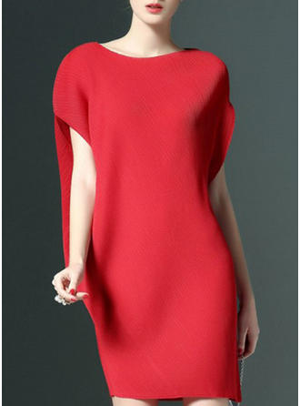 Solid Round Neck Above Knee Sheath Dress