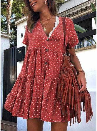 PolkaDot Short Sleeves Shift Above Knee Casual Dresses