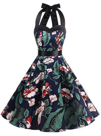 Print Floral Halter Knee Length A-line Dress