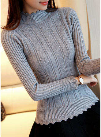 Solid Ribbed Stand Collar Sweaters