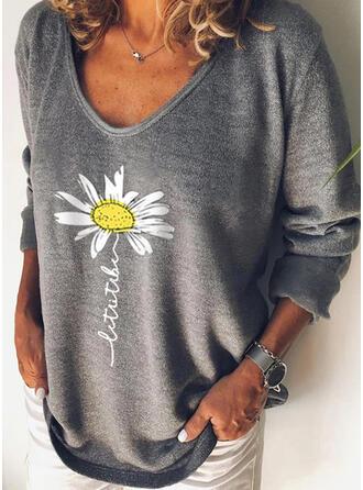 Fleurie Imprimé Letter Col Rond Manches Longues T-shirts