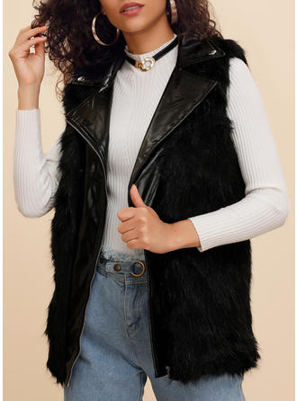 Faux Fur Short Sleeves Plain Woolen Coats