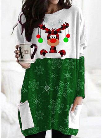 Animal Print flitry Kapsy Kulatý Výstřih Dlouhé rukávy Vánoční mikina