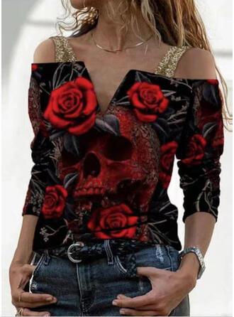 Fleurie Imprimé Accueil froid Manches Longues T-shirts