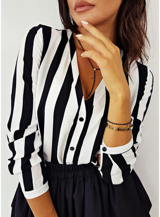 Striped V-neck Long Sleeves Button Up Casual Blouses