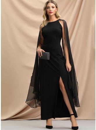 Solid Split Sleeve Shift Asymmetrical Little Black/Party/Elegant Dresses