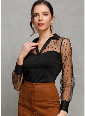 Solid PolkaDot Lapel Long Sleeves Casual Sexy Shirt Blouses
