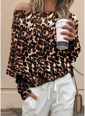 Animal Print One-Shoulder Long Sleeves Casual Blouses