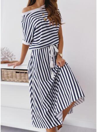 W paski Rękawy 1/2 W kształcie litery A Casual/Wakacyjna Midi Sukienki