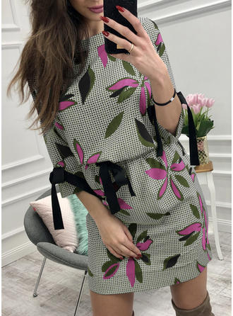 Print/Floral 3/4 Sleeves Sheath Above Knee Casual Dresses
