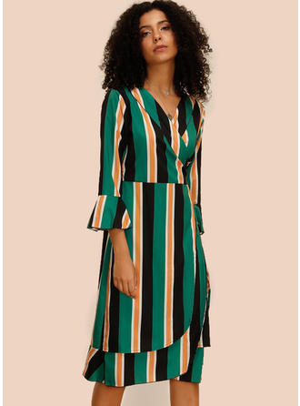 Striped 3/4 Sleeves/Flare Sleeves Sheath Knee Length Casual Dresses