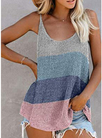 Color Block Spaghetti Strap Sleeveless Casual Sexy Knit Tank Tops