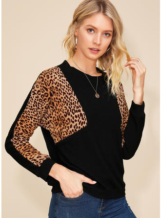 Animal Print Patchwork Round Neck Long Sleeves Casual Knit Blouses
