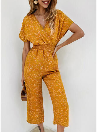 Polka Dot V-Neck Short Sleeves Casual Vacation Jumpsuit