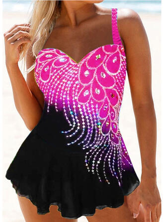 Print Strap Sexy Elegant Plus Size Swimdresses Swimsuits