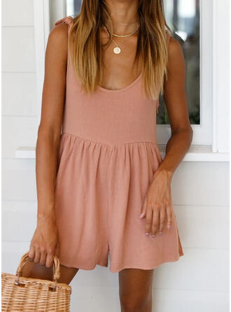 Solid U-Neck Sleeveless Casual Vacation Romper