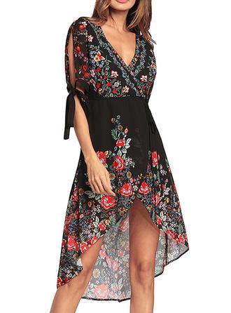Chiffon With Print Asymmetrical Dress