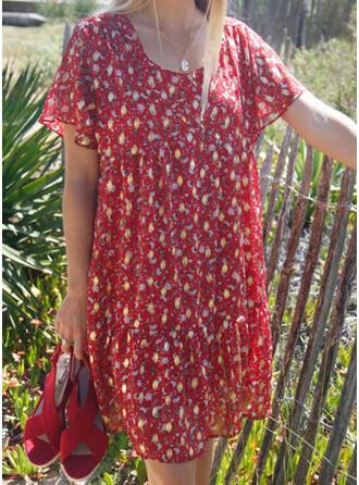 Print Short Sleeves Shift Knee Length Casual Dresses