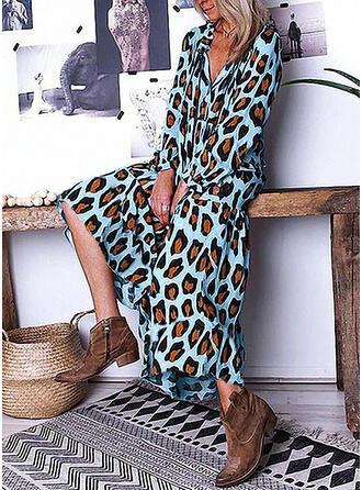 Leopardo Manga Comprida Shift Casual/Férias Midi Vestidos