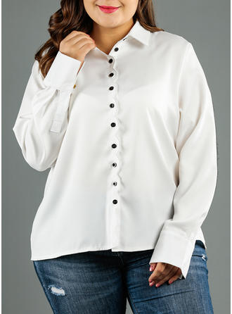 Solid Lapel Long Sleeves Button Up Casual Elegant Shirt Blouses