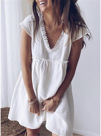 Lace/Solid Short Sleeves Shift Above Knee Sexy/Casual/Vacation Dresses