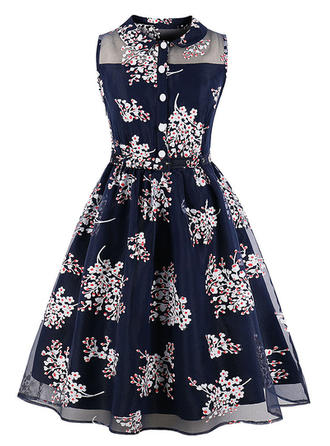 Floral Shirt collar Midi A-line Dress