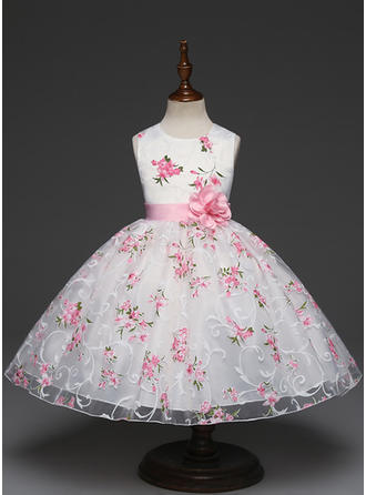 Girls Round Neck Floral Print Cute Flower Girl Dress