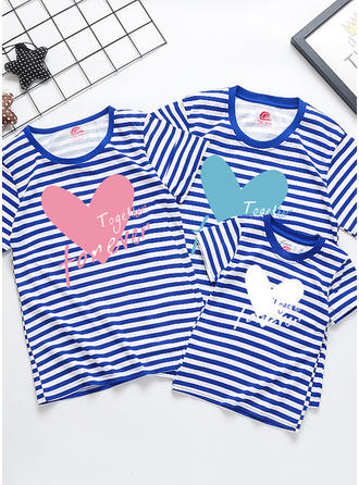 Letter Striped Inmprimé Tenue Familiale Assortie T-shirts