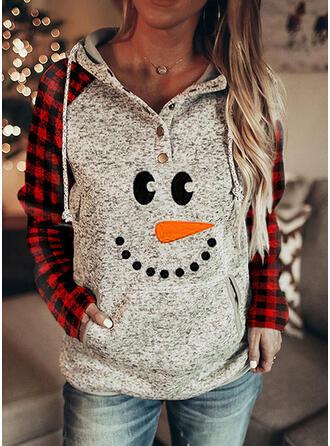 Print Grid Lommer Lange ærmer Jule sweatshirt