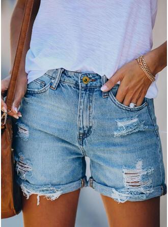 Rasgada Casual Clásico Pantalones cortos Vaqueros