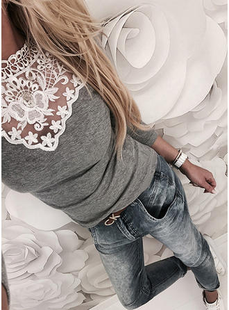 Lace Round Neck Long Sleeves Casual Sexy Blouses