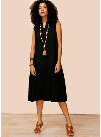 Solid Sleeveless Shift Midi Little Black/Casual Dresses