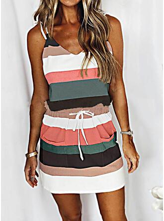 Color-block Bezrukávů Pouzdrové Nad kolena Neformální Košilka Šaty