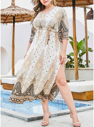 Print/Floral 3/4 Sleeves A-line Casual/Boho/Plus Size Midi Dresses
