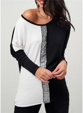 Color Block Sequins One-Shoulder Long Sleeves Casual Sexy Blouses