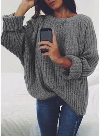 Solid Chunky knit Round Neck Sweaters