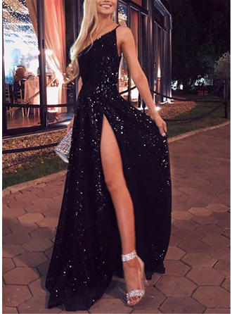 Sequins Sleeveless A-line Maxi Little Black/Party Dresses