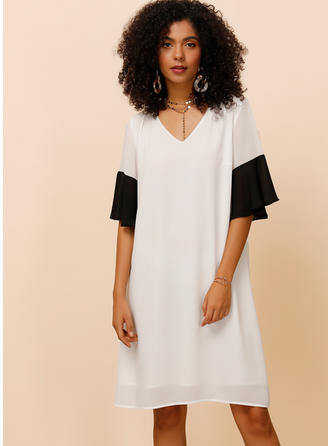 Color-block 1/2 Sleeves/Flare Sleeves Shift Knee Length Casual Dresses