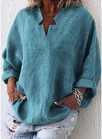 Solid V Neck Long Sleeves Casual Elegant Blouses