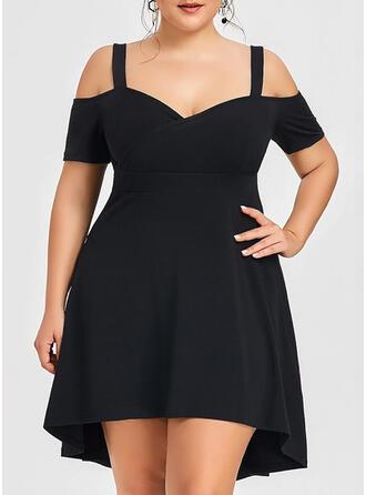 Solid Short Sleeves/Cold Shoulder Sleeve A-line Above Knee Little Black/Party/Plus Size Dresses