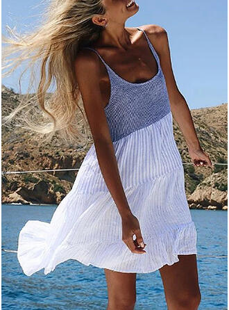 Color Block Sleeveless Shift Above Knee Casual/Vacation Dresses