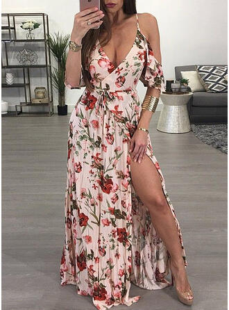 Print/Floral Short Sleeves/Cold Shoulder Sleeve A-line Party/Vacation Maxi Dresses