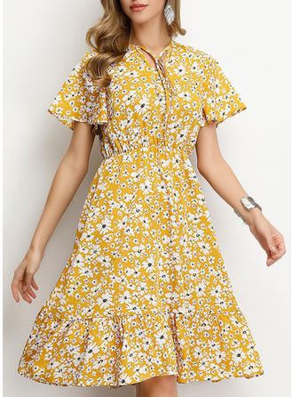 Print/Floral Short Sleeves A-line Knee Length Casual/Elegant/Vacation Dresses