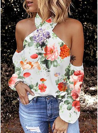 Stampa Floreale Spalle esposte Maniche lunghe Sexy Camicie