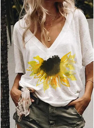 Print Floral Sunflower Print V-Neck 1/2 Sleeves Casual T-shirts