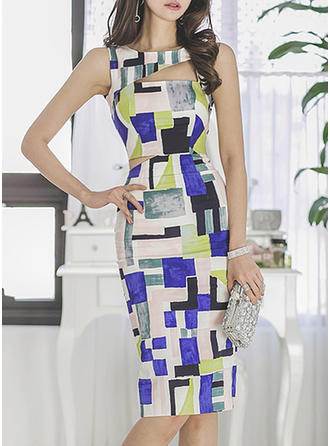 Color-block Sleeveless Sheath Knee Length Casual/Elegant Dresses