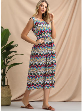 Geometric Print Sleeveless A-line Midi Casual/Boho/Vacation Dresses